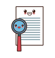 Document check symbol cute kawaii cartoon vector