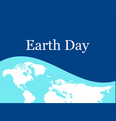 Earth day world map on the flag with ribbon vector