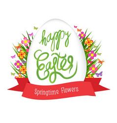 easter egg poster with label springtime flowers vector image