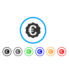 euro reward seal rounded icon vector image