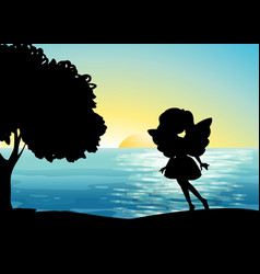 Fairy silhouette in nature background vector
