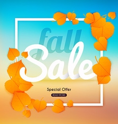 Fall sale Banner with autumn leaf Poster Flyer vector