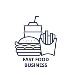 fast food business line icon concept fast food vector image