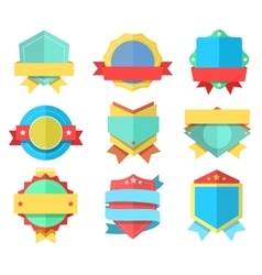 Flat style badge icons set badges simple vector image