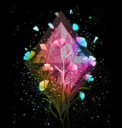 Flowers and crystal background design vector