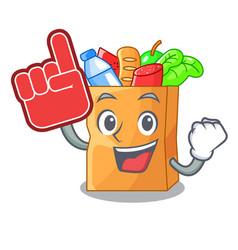 Foam finger food bag foil or paper cartoon vector