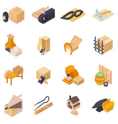 Forging delivery icons set isometric style vector