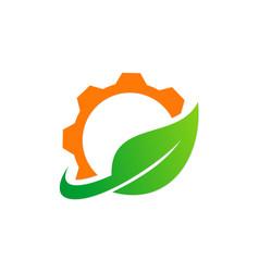 Gear green leaf recycle logo vector