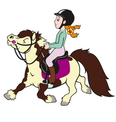 girl riding pony vector image