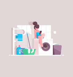 girl using smartphone in bathroom vector image