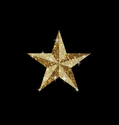 golden glitter 3d review star icon on black vector image