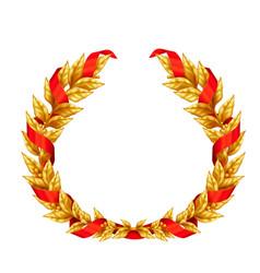Golden laurel wreath with red ribbon vector