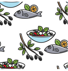 Greek salad and fish olives branch greece cuisine vector