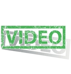 Green outlined VIDEO stamp vector image