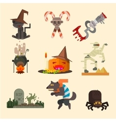 Halloween Attributes Characters Set in Flat Style vector image