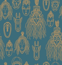 Hand drawn african masks Seamless pattern vector image