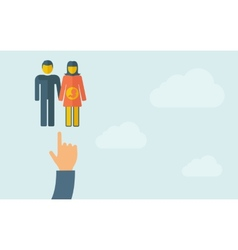 Hand pointing to a couple with pregnant woman vector