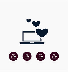hearts on laptop icon simple love valentine sign vector image