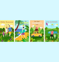 Hello summer family and friends on vacations set vector