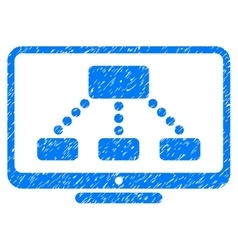 Hierarchy Monitor Grainy Texture Icon vector image