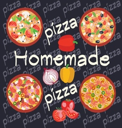 Homemade hot pizza icons set Posters design vector image