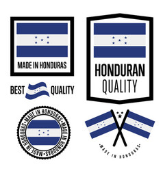 honduras quality label set for goods vector image