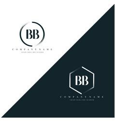 initial letter bb circle brush hexagon brush vector image