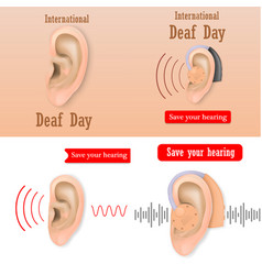 International deaf day banner set realistic style vector