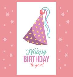 Kawaii triangular happy birthday hats vector