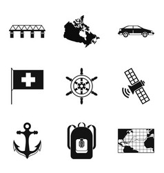 leading the way icons set simple style vector image