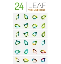 Leaf geometric icons made of wave elements vector