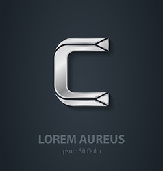 Letter C elegant silver font Template for company vector