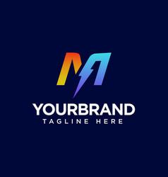 M letter logo design with lighting thunder bolt vector
