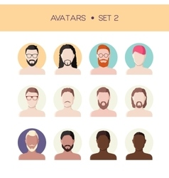 Man face avatars set vector image