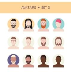 Man face avatars set vector