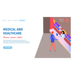 medical and healthcare horizontal banner doctor vector image
