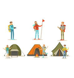 men hiking with backpacks on vacation set tourist vector image