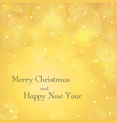 merry christmas gold background with text stars vector image