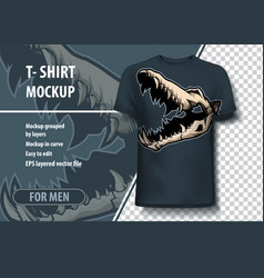 Mock-up template for print crocodile skull layout vector