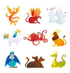 Mythical and fantastic creatures set vector