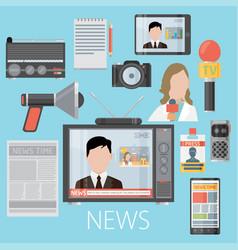 News cast journalism television radio press vector
