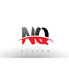 Nq n q brush logo letters with red and black vector