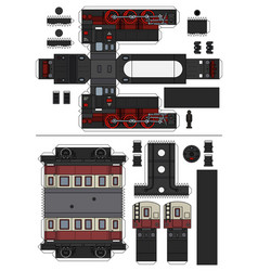 Paper model of a vintage steam train vector