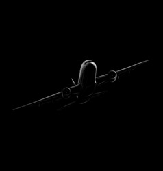 passenger airplane on a black background hand vector image