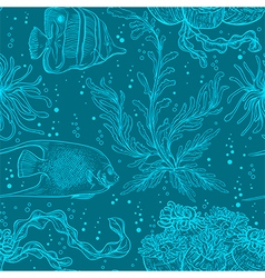 pattern with marine plants coral seaweed vector image