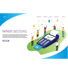 payment successful website landing page vector image