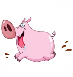 pig running vector image vector image