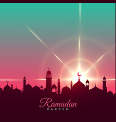 Ramadan kareem greeting background with mosque vector