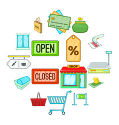 retail icons set cartoon style vector image
