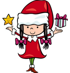 Santa claus girl cartoon vector